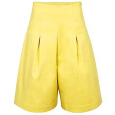PAPER London Adamello Short Culottes (£95) ❤ liked on Polyvore featuring pants, capris, culottes, yellow, paper pants, yellow pants, pleated front pants, high rise trousers and high-waisted pants