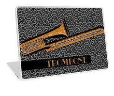 TROMBONE TUNES (Laptop case cover) art by Cecely Bloom. Also available #TShirts #Stickers #iPhone #Cases #Samsung #Galaxy #Posters #Home #Decors #Tote #Bags #Cards #Laptop #musical #instrument #popart #art #trombone #music #tunes #music #jazz #salsa #classical #band #orchestra #marching #big #brass  #musician #gifts #blackandwhite #laptop #cases #skins #covers #sleeves