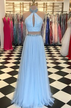 Light Blue Beaded High Neck Two Piece Prom