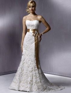 2011 Style Trumpet / Mermaid Strapless Court Trains Sleeveless Lace Wedding Dress For Brides (SZ004173)