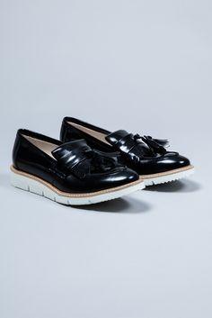 Davina Black Tassle Fringe Loafer