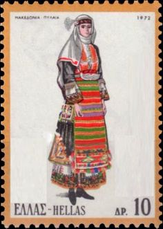 Sello: Female Costume from Pylaia, Macedonia (Grecia) (National Costumes) Mi:GR 1120 Greek Traditional Dress, Traditional Outfits, Greece Pictures, Folk Dance, Folk Costume, Macedonia, My Stamp, Dance Costumes, Costumes For Women