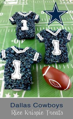 These Dallas Cowboys Rice Krispie Treats Team Jerseys are a fun dessert for a game day football party, an NFL playoff party, a Super Bowl party food or as a special snack for the Dallas Cowboys fans in your life. Follow us for more fun Rice Krispie Treats.