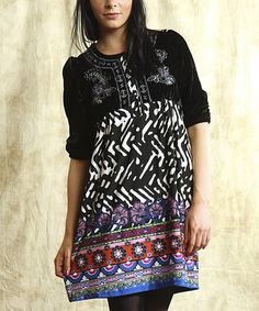 Take a look at this Black & Purple Embroidered Dress by Young Threads on #zulily today! 24.99 from 60.00