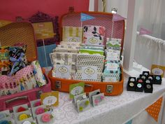 Suitcase display for craft fair, Product labels & Price signs