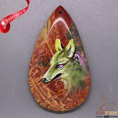 Unique  Pendant Hand Painted Wolf Natural Gemstone   ZL805475 #ZL #Pendant