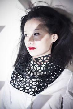 Black Lune - Rubber lasercut necklace by JELKA QUINTELIER-BE-UK