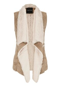 faux suede vest with faux fur lining and trim - #maurices