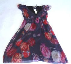 NWT BUFFALO DAVID BITTON RAFAELA PURPLE FLORAL DRESS SEQUINS SHOULDER V NECK 119