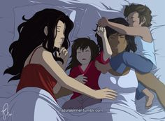 More Korrasami family! We know that adopted kids need an adjustment time in their new house and with Akane and Tikaani was no different. During the first few weeks after being adopted they sneaked into Korra and Asami's bedroom every night and slept with them. (C) Hazurasinner