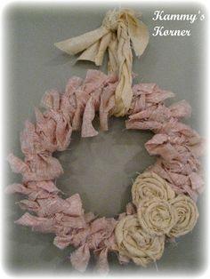 Shabby Rag Wreath from Kammy's Korner - really cute #ShabbyChic Style #Wreath - easy #DIY #craft - tå√