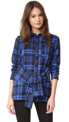 ENGLISH FACTORY Plaid Tie Waist Shirt Size S
