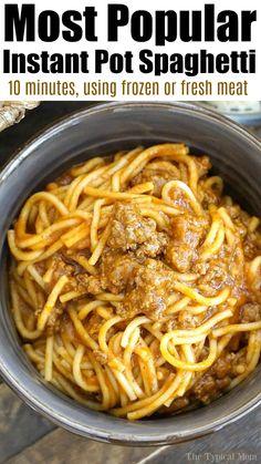 Instant Pot Spaghetti Recipe, Best Instant Pot Recipe, Instant Pot Dinner Recipes, Spaghetti Recipes, Pasta Recipes, Cooking Recipes, Homemade Spaghetti, Spaghetti Sauce, Instapot Spaghetti