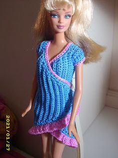 Crochet for Barbie (the belly button body type): Electric blue wrap dress