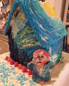 Post with 141 votes and 3919 views. Shared by IndigoSalsa. I made a Van Gogh gingerbread house! Cool Gingerbread Houses, Gingerbread House Designs, Christmas Gingerbread House, Noel Christmas, Christmas Treats, Xmas, Gingerbread Decorations, House Funny, Yule