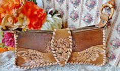 Vintage Hand Tooled Leather western Purse Handbag by vintagelady7, $29.99