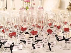 Coco Chanel Inspired Bridal Shower - love the names on the wine glasses!
