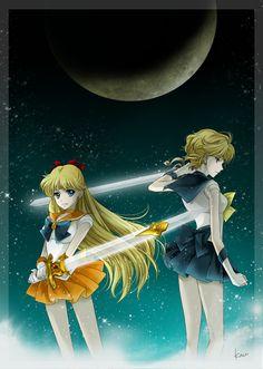 Tags: Fanart, Bishoujo Senshi Sailor Moon, Sailor Venus, Sailor Uranus, Tenou Haruka, Pixiv, Fanart From Pixiv, Hanarain, Aino Minako