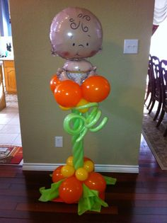 My Little Pumpkin Balloon Column. By An Occasion Station Balloon Centerpieces, Balloon Decorations, Baby Shower Decorations, Balloon Ideas, Balloon Columns, Balloon Arch, Baby In Pumpkin, Little Pumpkin, October Baby Showers