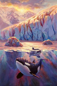 Orca Sunrise At The Glacier Canvas Print / Canvas Art by Karen Whitworth - Warm Home Decor Arte Orca, Orca Art, Orcas, Orca Kunst, Whale Painting, Whale Art, Wale, Delphine, Killer Whales