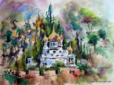 "Laura Climent ""Orthodox Church"". (Watercolor, Watercolor)     Dedicated to St. Mary Magdalene on the Mount of Olives.   It was built by Tsar Alexander III in 1886 to the memory of his mother.    PINCELADAS DEL VARIADO MUNDO QUE NOS RODEA."
