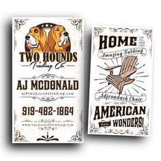 Create a unique vintage card design for Two Hounds Trading by DIYdesign