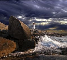 Lighthouse at Peggy's Cove, Nova Scotia, Canada | by Dave the Haligonian, via Flickr