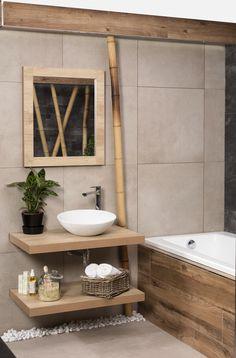 přírodní koupelna Tropical Bathroom, Boho Bathroom, Bathroom Styling, Small Bathroom, Master Bathroom, Interior And Exterior, Interior Design, Love Home, Double Vanity