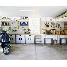 """Brides.com: How to organize your garage. Keep like with like When you have so much stuff that you don't know where to start, arrange it according to task. Are you a weekend gardener? Group soil and tools on a potting table; heavy containers can rest on the floor underneath. An amateur carpenter? Devote a cabinet and a sturdy surface to your woodworking tools.  Modular wall-storage system (including perforated boards, shelves, bins, countertops and hardware) """"Antonius $2 to $20 each, ikea.com…"""