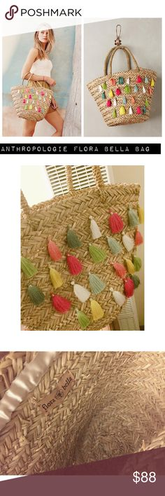 """Flora Bella Straw Tote with Multicolor Tassels This bag is SO FUN!!!! Flora Bella. Sold at Anthropologie. NWOT.  Woven raffia Polyester tassel detail Handmade Imported Dimensions: 11""""H, 18""""W, 9""""D 6.5"""" strap drop Anthropologie Bags Totes"""