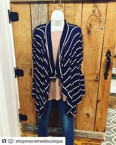 #Repost @shopmainstreetboutique with @repostapp  Sometimes last minute shopping pays off-like when cute new arrivals happen to show up like this navy striped cardi with suede elbow patches! Stop by and see what the delivery truck has brought us. Open 10-6:30 this week. #ootd #shoplocal #shopmsb #carrolltonga #6786642046  #thecitymenus #tcmpartners #carrolltonretail