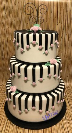 Wedding Cake With Black Strips And Pink Roses By Felis Toporascu