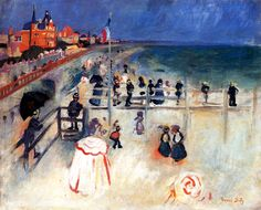 The Beach at Sainte-Adresse / Raoul Dufy - circa 1905 and like OMG! get some yourself some pawtastic adorable cat shirts, cat socks, and other cat apparel by tapping the pin! Raoul Dufy, Georges Braque, Henri Matisse, Modern Artists, French Artists, Post Impressionism, Impressionist, Maurice De Vlaminck, Art Periods