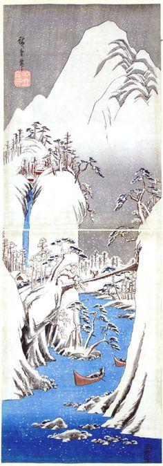 """A Snowy Gorge"" by Hiroshige"