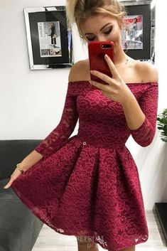 Off-the-Shoulder Long Sleeves Burgundy Lace Homecoming Dress - Homecoming Dresses Burgundy Homecoming Dresses Short, Hoco Dresses, Pretty Dresses, Sexy Dresses, Homecoming Dresses Sleeves, Awesome Dresses, Short Prom, Evening Dresses, Casual Dresses