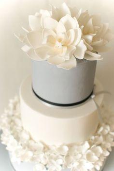 Gorgeous white and grey wedding cake