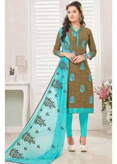 Festival Wear Brown & Blue Cotton Jacquard Salwar Suit  - 1005A