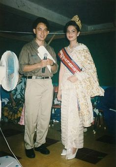Khem Veasna on year 1996 , with Miss Cambodia # 1, at stat Olympic show.