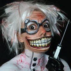 Deranged Mad Scientist Halloween makeup facepaint
