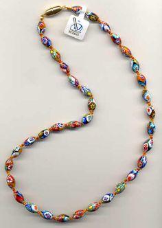 """""""Fine"""" Millefiori Oval Necklace"""