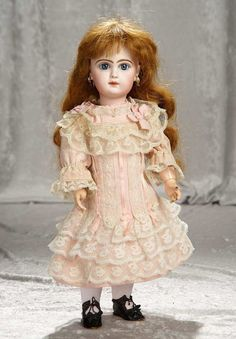 """17"""" French bisque closed mouth bebe by Emile Jumeau with rare """"D"""" marking. $1800/2400    Theriault's"""