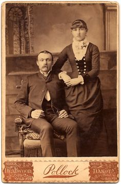 Cabinet card of a couple from Deadwood, South Dakota