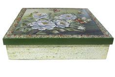Caixa grande feita em decoupage, transfer e verniz com glitter na tampa.