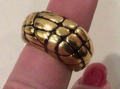 Vintage Signed Hallmark John Hardy ? Fabulous  Deco Modernist Gold Ring