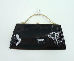 Vintage Black Patent Handbag Purse / Frame Bag / Gold Handle / 1960s Formal Purse / 60s Bag / Mad Men