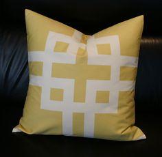 SET of TWO Decorative Pillows - Greek Key - Pattern on both sides - Yellow Pillow - 20X20. $78.00, via Etsy.
