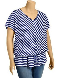 Women's Plus Drawstring Chevron-Striped Tops | Old Navy