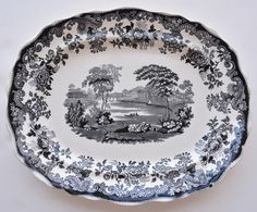 Vintage LARGE Black Toile Transferware Platter Spode Copeland Scenic Countryside with Victorian Scrolls & Roses
