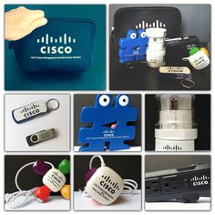 We put together a travel pouch of useful branded giveaways for Cisco including a travel extension cord, a travel adapter, a 4-color 4-USB hub, a silver 16g thumb drive, a white and blue toolkit with flashlight, a hashtag shaped stress reliever and it all fits into this handy neoprene travel pouch!