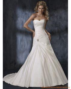 2013 Neue Brautmode aus Taft Herzförmiger Ausschnitt mit Perlen und Kristalle verziertetes A-line Brautkleid